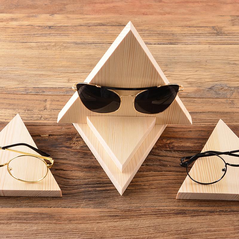 眼镜店眼镜摆台实木眼镜展示架展柜摆放柜台三角形道具太阳眼镜架