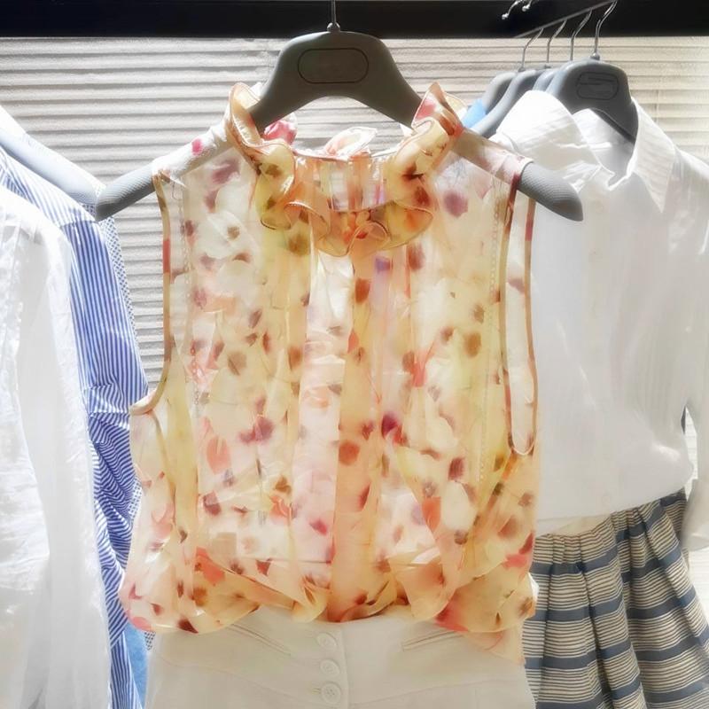 魅阿玛施族正品女装2018新款夏季韩版雪纺碎花上衣荷叶领无袖衬衫