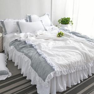 凯豪纯色北欧公主风水洗棉夏被床裙四件套空调被夏凉被双人薄被子
