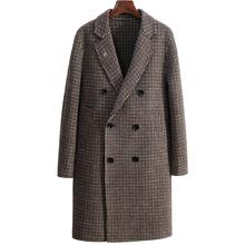 双面羊绒格子大衣 休闲bet伟德西装 领中长款 千鸟格毛呢大衣男秋冬时尚