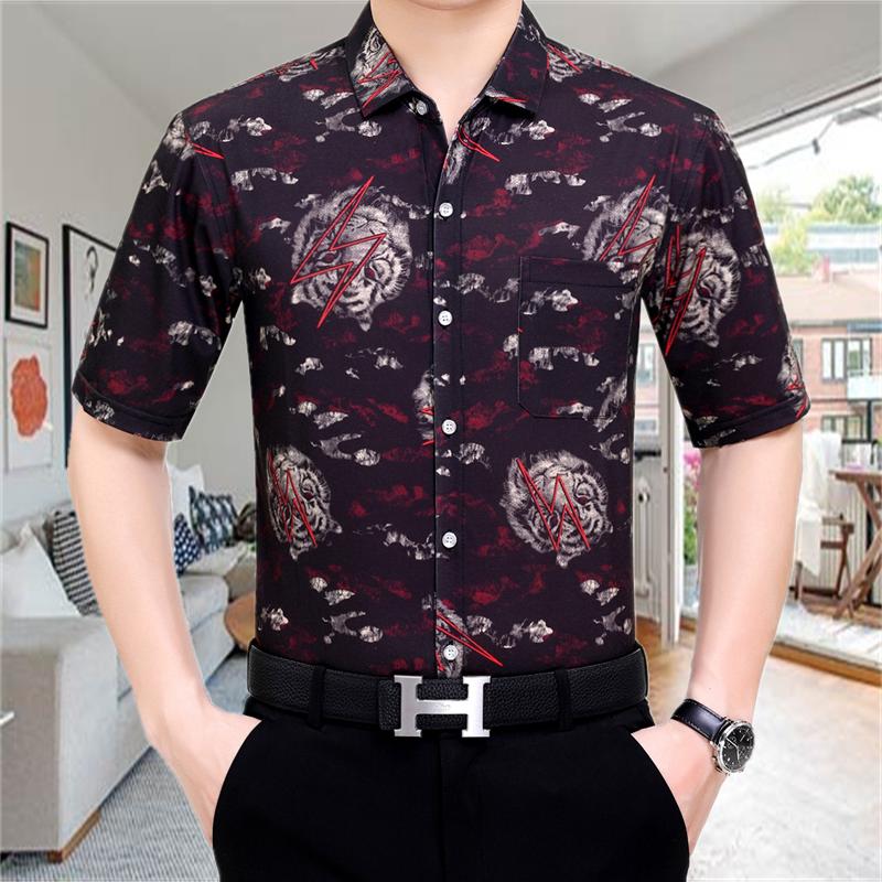 男士休闲桑蚕丝时尚碎花短袖衬衫夏季宽松大码中年爸爸装半袖衬衣