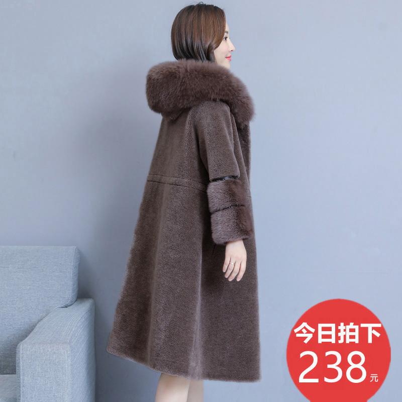 新款狐狸毛一体羊剪绒大衣女中长款羊毛水貂绒外套冬2018海宁皮草