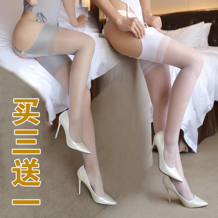 复古丝滑超宽边无弹力珠光袜口长统袜大腿高筒丝袜1双包邮买3送1(用1元券)