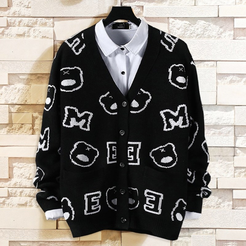 Extra large plus large Guochao fat brother fat man loose sweater cardigan sweater mens thick sweater