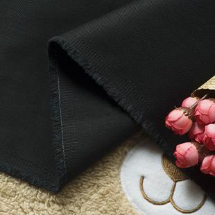 阔腿裤 黑色纯棉斜纹布料 西裤 面料 秋冬加厚弹力外套裙子 优质服装