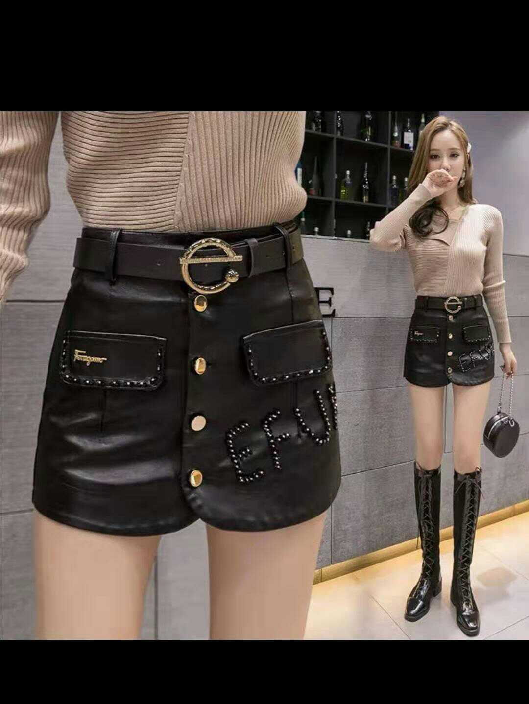 Womens leather skirt with diamond sequins autumn / winter 2020 new Korean high waist washed PU leather skirt skirt