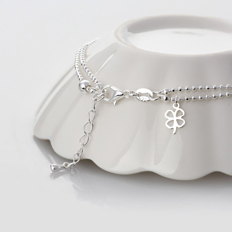 Hot selling 925 Sterling Silver Anklet Korean version simple and generous clover chain silver jewelry gift for women