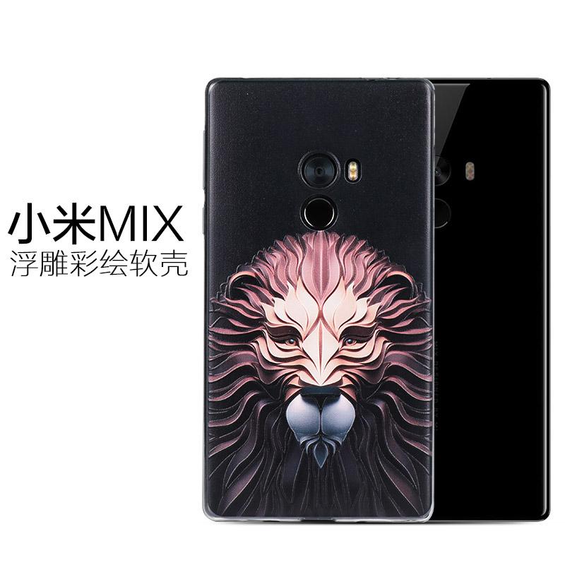 USK 小米MIX手機殼立體浮雕彩繪全包矽膠軟防摔手機保護套男女款