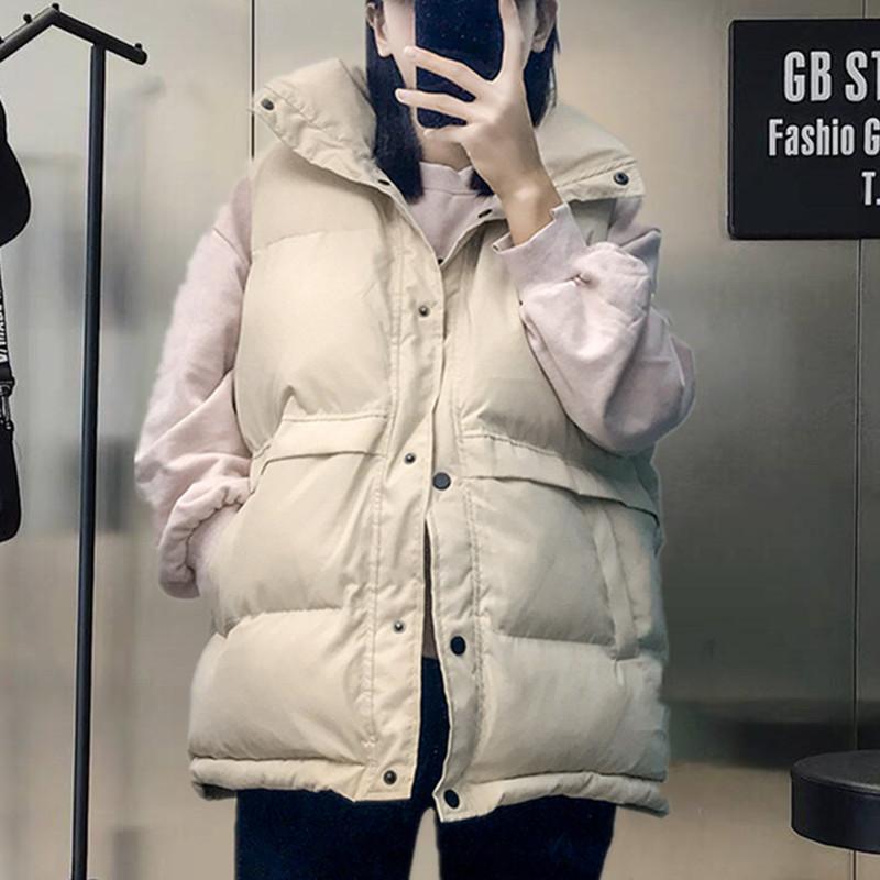 短款面包外套韩版宽松冬季2018新款无袖马夹背心立领羽绒棉马甲女