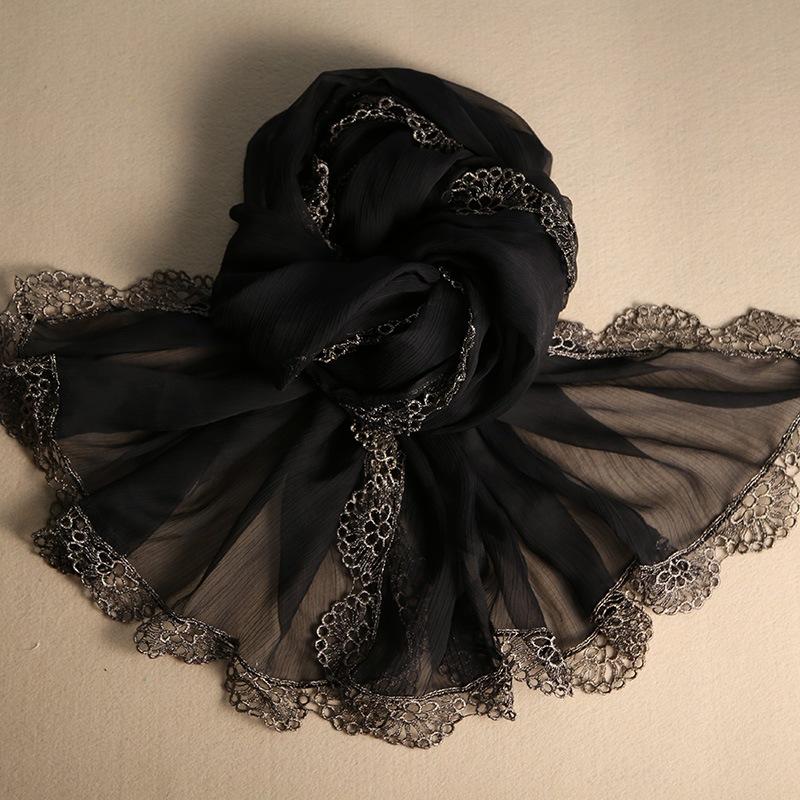 春秋冬季蕾丝民族风韩版丝绸纯黑色真丝大丝巾桑蚕丝巾女百搭长款