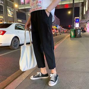 2019新款棉麻裤子男夏季纯色薄款宽松亚麻哈伦裤直筒九分裤长裤潮