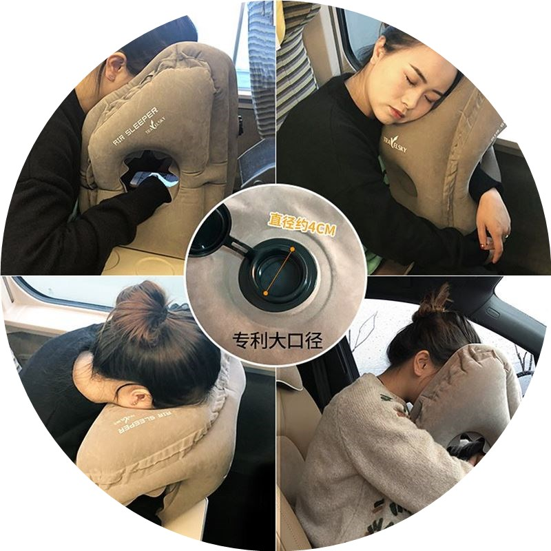 inflatable trael pillow air neck pillows on train airplane