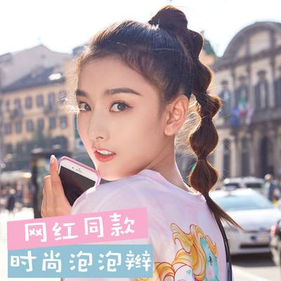 Lantern bubble ponytail wig ponytail female lace-up double ponytail gourd twist braid fake ponytail net red braid
