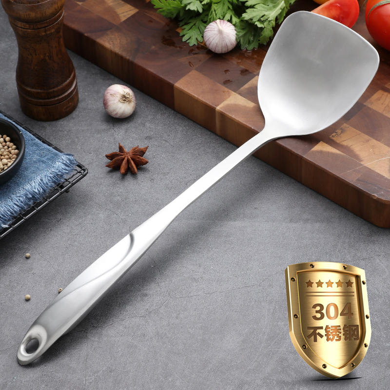 304不锈钢锅铲家用厨房炒菜铲子煎铲汤勺炒勺长柄铁厨具套装单个