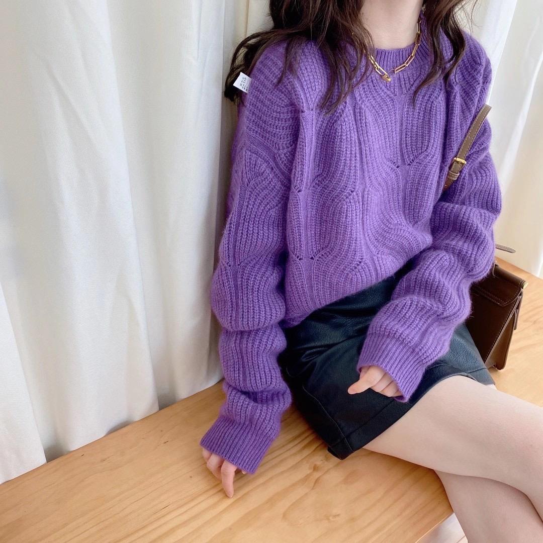 欧洲站2020秋冬新款 立体竖条麻花纹 宽松慵懒风套头紫色羊绒毛衣