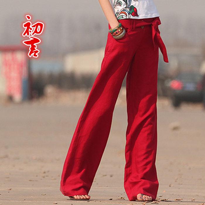 2020棉麻女裤亚麻休闲裤阔腿裤女夏长裤复古直筒裤阔脚裤宽松裤子
