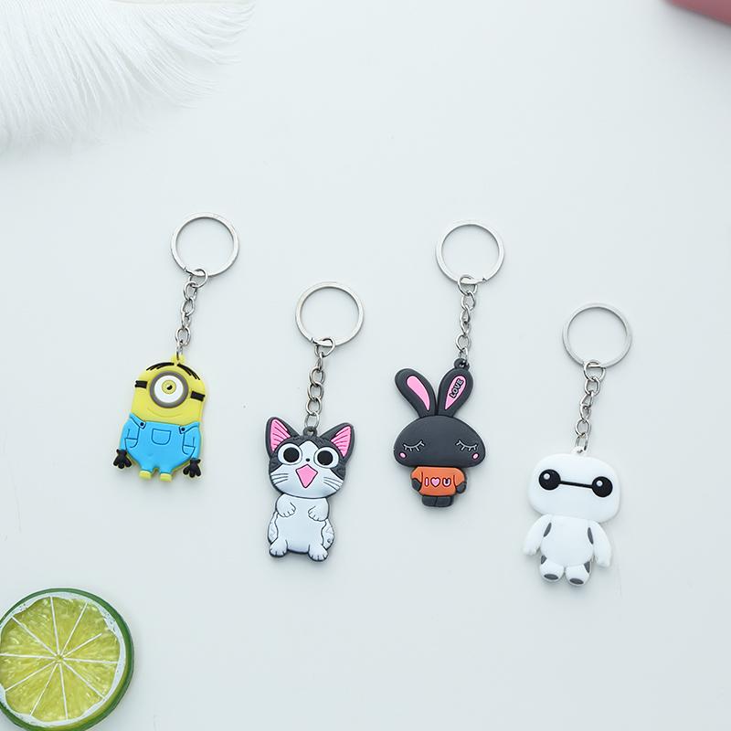 韩国硅胶卡通可爱动物钥匙扣挂腰汽车钥匙圈女环男女钥匙链小挂件