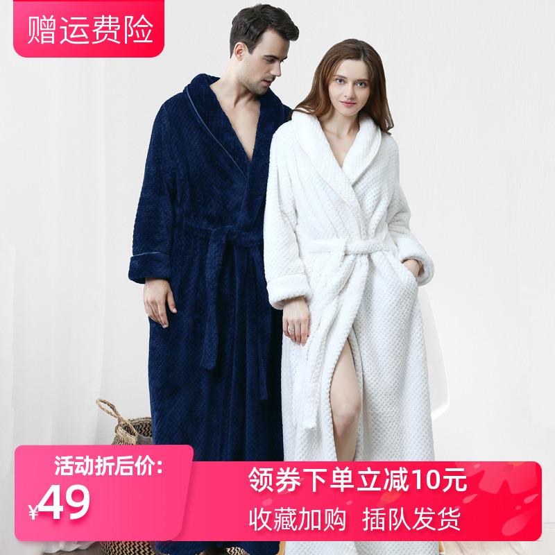 加长加厚法兰绒睡袍女冬季睡衣家居服情侣款一对珊瑚绒大码浴袍男图片