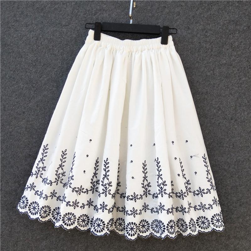 自制2020新品刺绣棉麻半身裙女纯棉中长款纯白裙子大摆仙女百褶裙