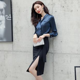 职业装气质女神范高端复古女裙套装时尚长袖衬衫女设计感小众裙装