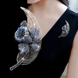 日韩树叶胸针ins潮个性女羽毛胸花气质装饰开衫别针复古配饰品图片