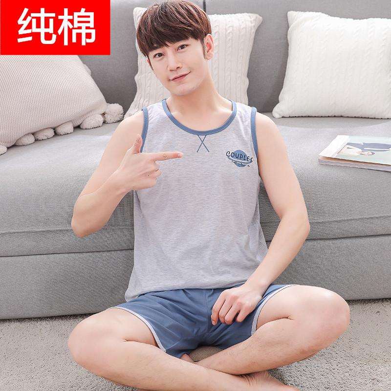 男大童夏季男士睡衣初中学生薄款青少年 12-18岁夏天纯棉背心睡衣假一赔十