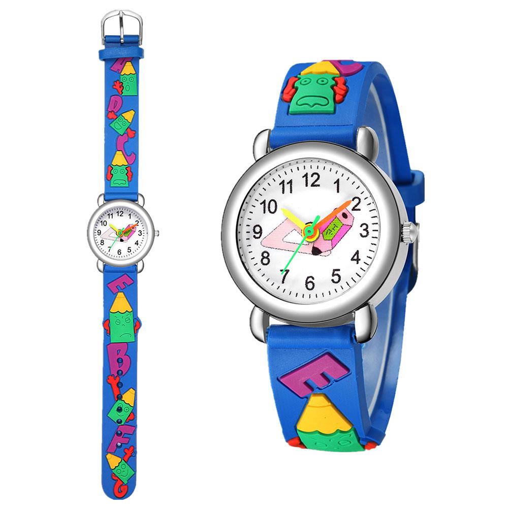 可爱卡通男女童电子手表 彩色图案硅胶糖果系石英小学生数字手表