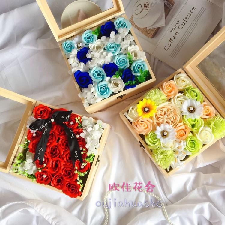雪英永生花礼盒木盒摆件摆台干花真花康乃馨创意DIY生日结婚女生