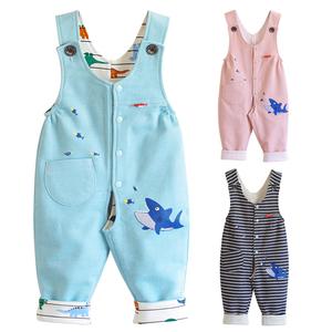 开裆裤双层婴儿背带裤纯棉0-1-2岁柔软小宝宝裤子春秋儿童裤
