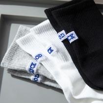 黑色篮球袜子女春秋中筒ins潮运动纯棉长筒秋冬季白色男高筒长袜