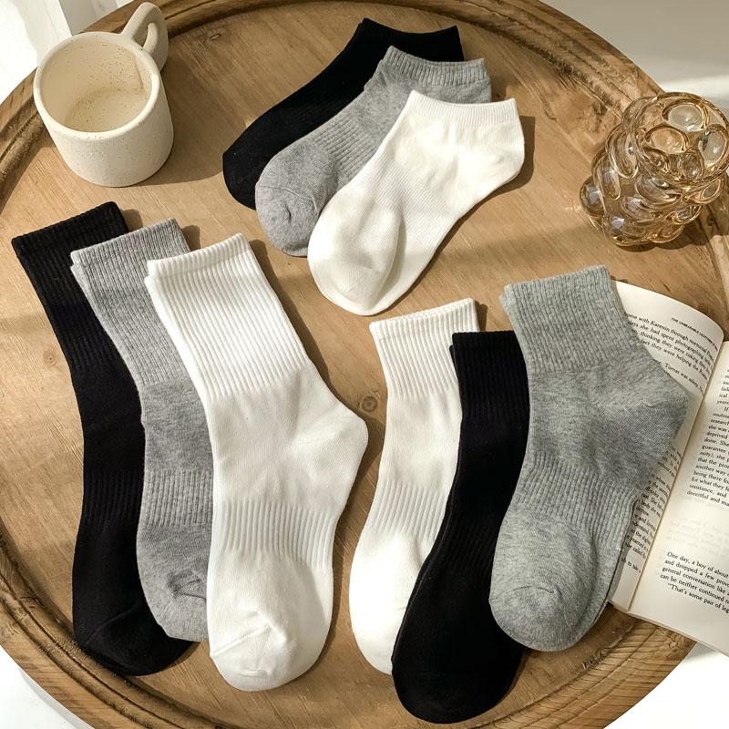 白色袜子女中筒袜春秋季纯棉ins潮黑色长袜夏天薄款纯色长筒男袜