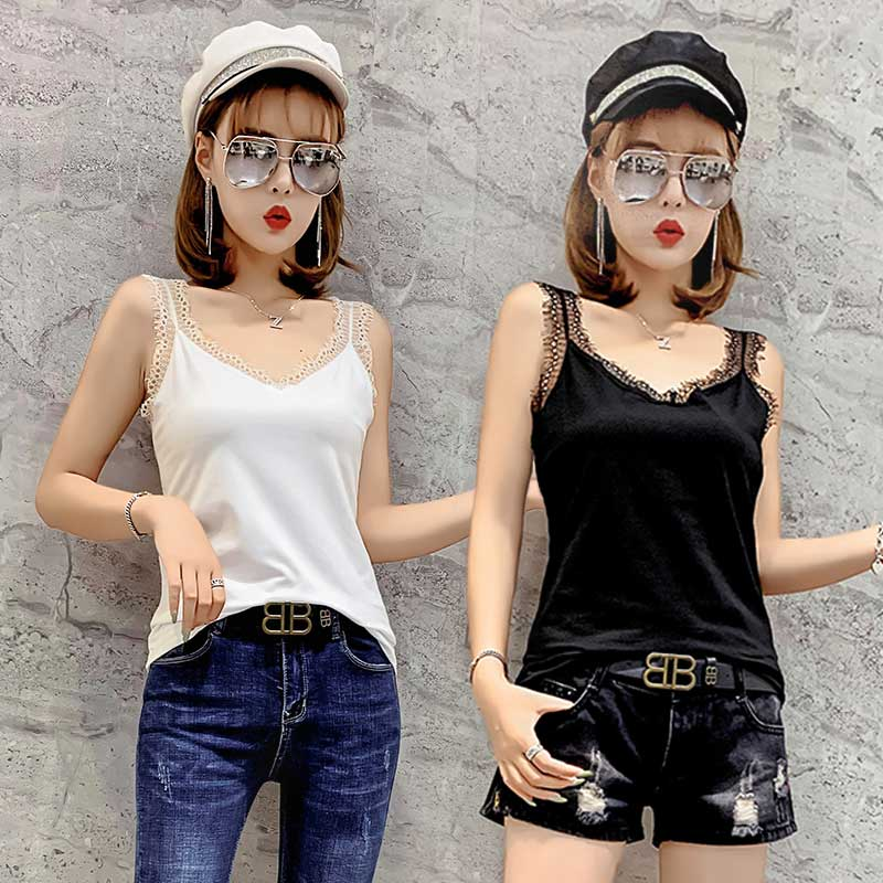 618# new spring and summer lace V-neck suspender vest womens slim sexy silver sleeveless bottomless top