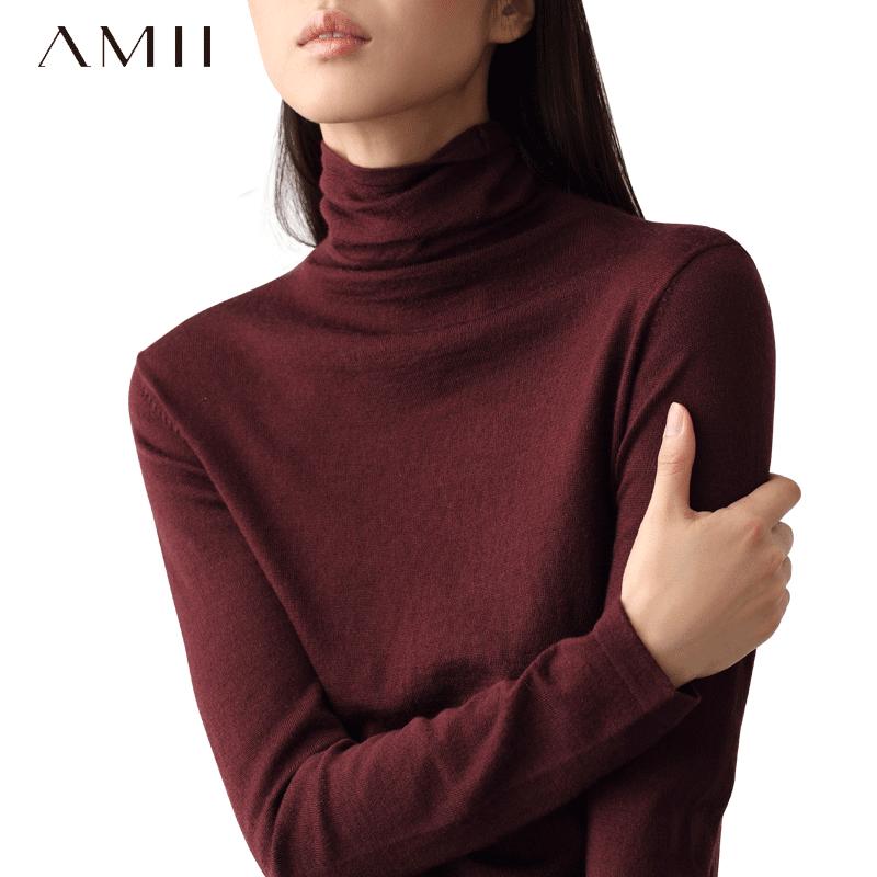 艾米amii女装旗舰店薄款高领毛衣女秋冬内搭套头大码针织打底衫潮