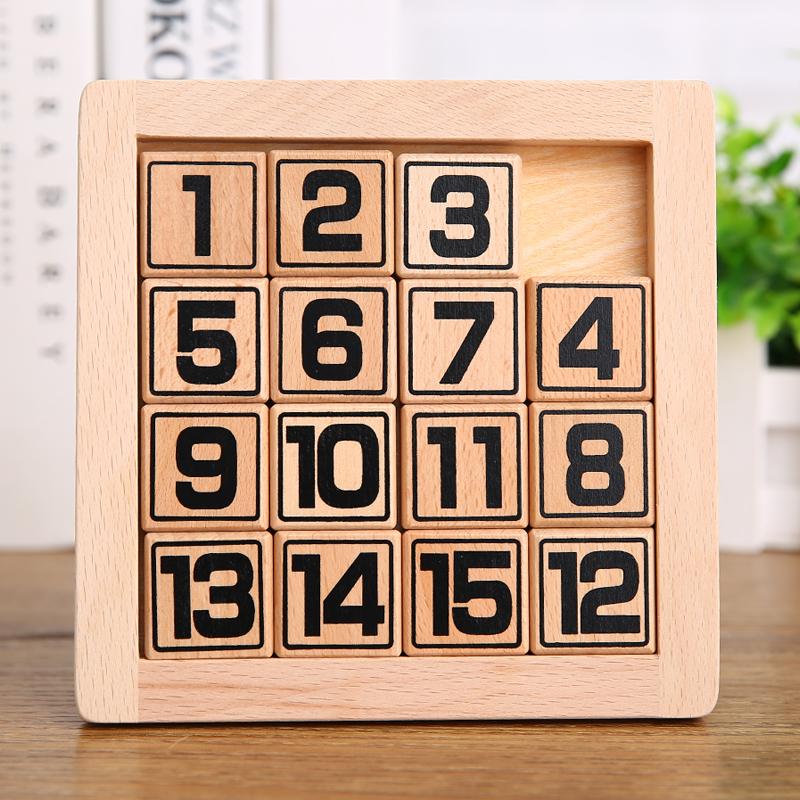 数字华容道益智玩具滑动拼图木制玩具开发右脑玩具智力成人玩具