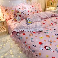 ins风韩式床裙款四件套少女心床单用后评测