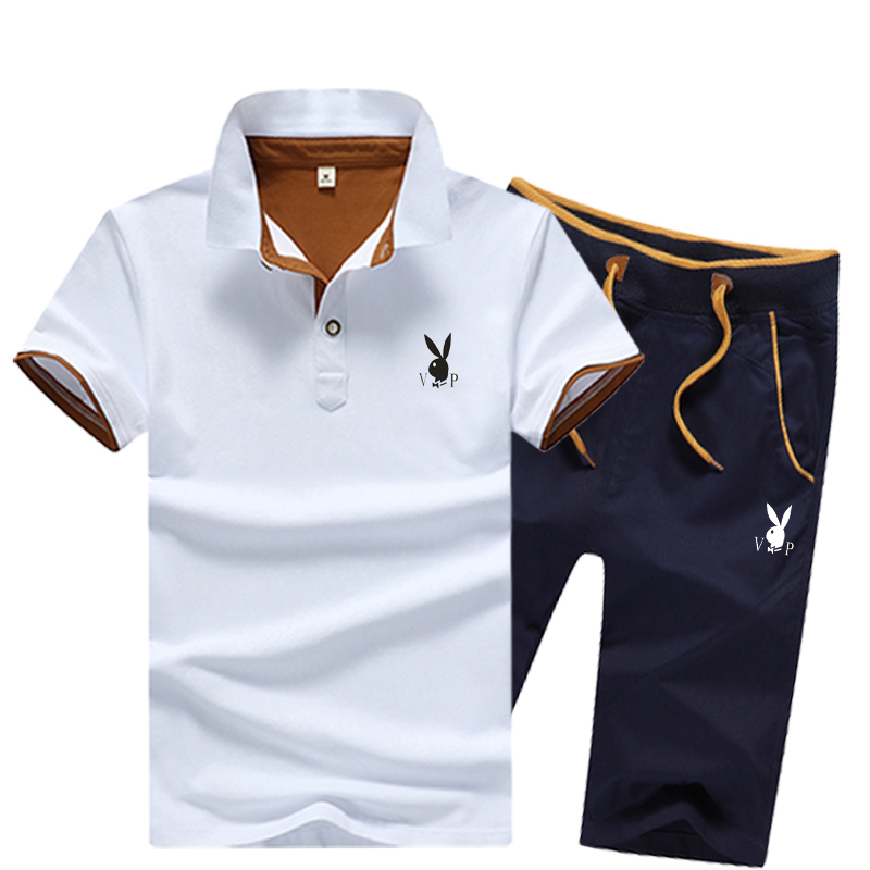 Playboy summer youth mens Polo T-shirt set with pure cotton solid color fashionable slim lapel