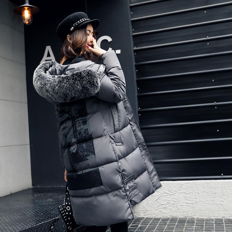 棉衣女中长款新款韩版大毛领2017棉袄大码加厚羽绒棉服外套冬装潮