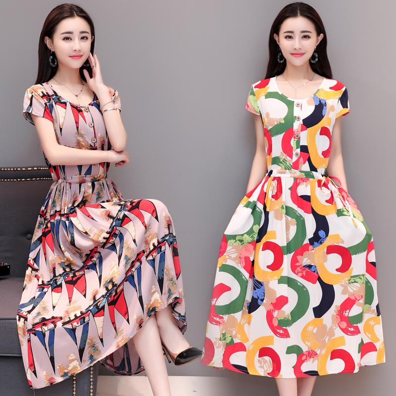 2018夏装新款中老年女装连衣裙大码修身妈妈装短袖棉绸印花长裙子