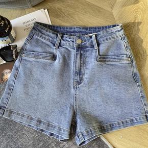 柒柒家2021夏季新款韩风蓝色宽松百搭牛仔裤女高腰显瘦阔腿短裤子