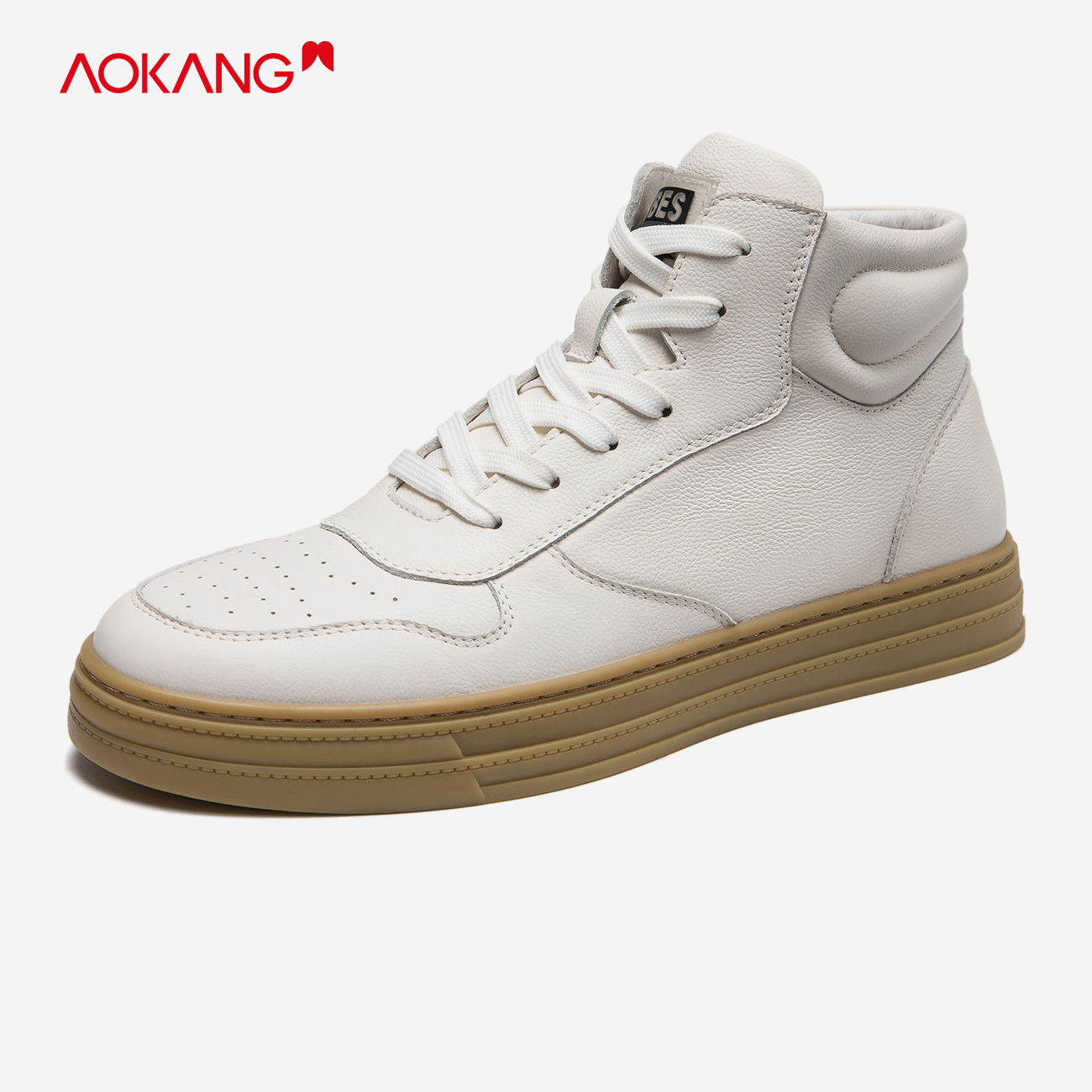 Aokang mens shoes white 2020 autumn fashion Korean high top daily casual shoes mens black youth mens fashion shoes