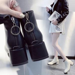 粗跟短靴女中跟时尚韩版加绒拉链网红靴子2019秋冬新款短筒马丁靴