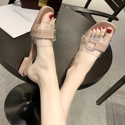 凉拖鞋女外穿露趾仙女低跟2020新款韩版百搭时尚网红透明一字拖夏