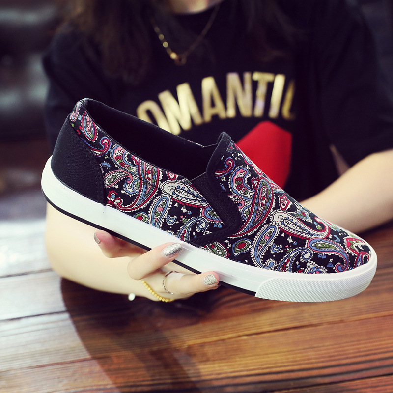 Canvas shoes mens summer low top breathable flat bottom patterned fabric shoes