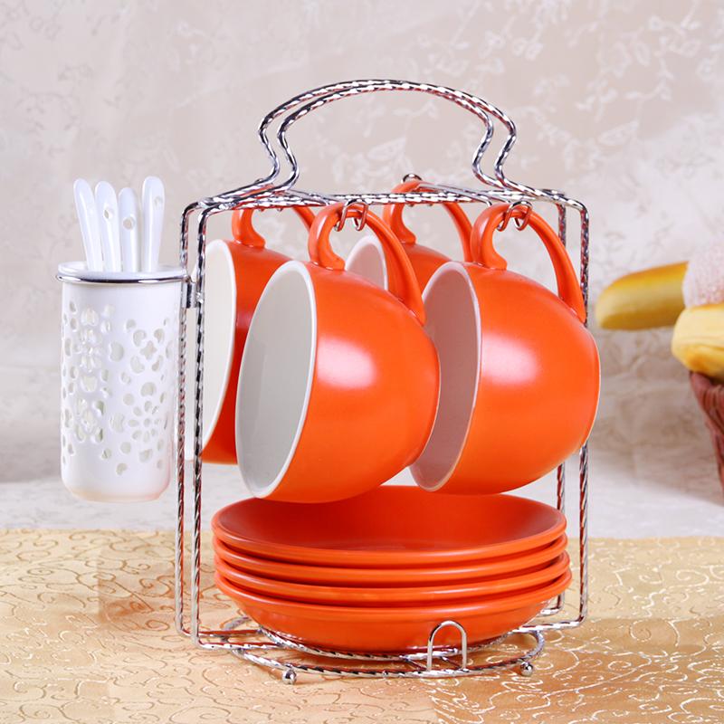 卡布奇諾咖啡杯碟歐式拉花咖啡杯4杯碟送勺陶瓷大容量咖啡杯套裝