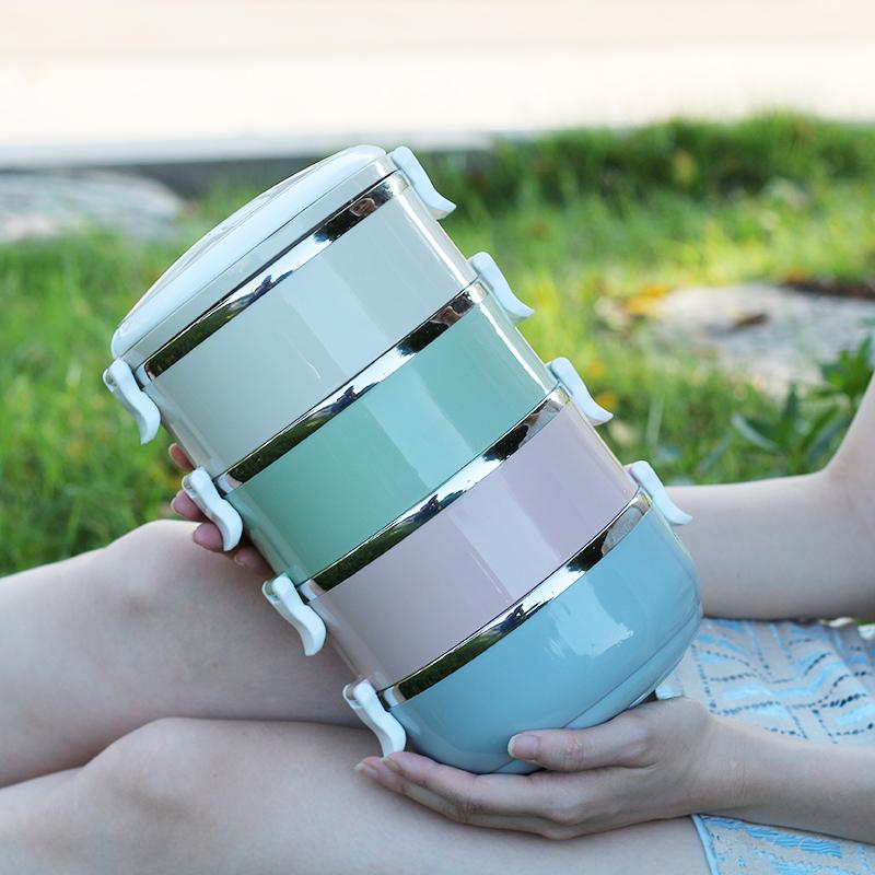 可愛304不鏽鋼保溫飯盒分格學生兒童餐盒便當盒雙層三層多層圓形