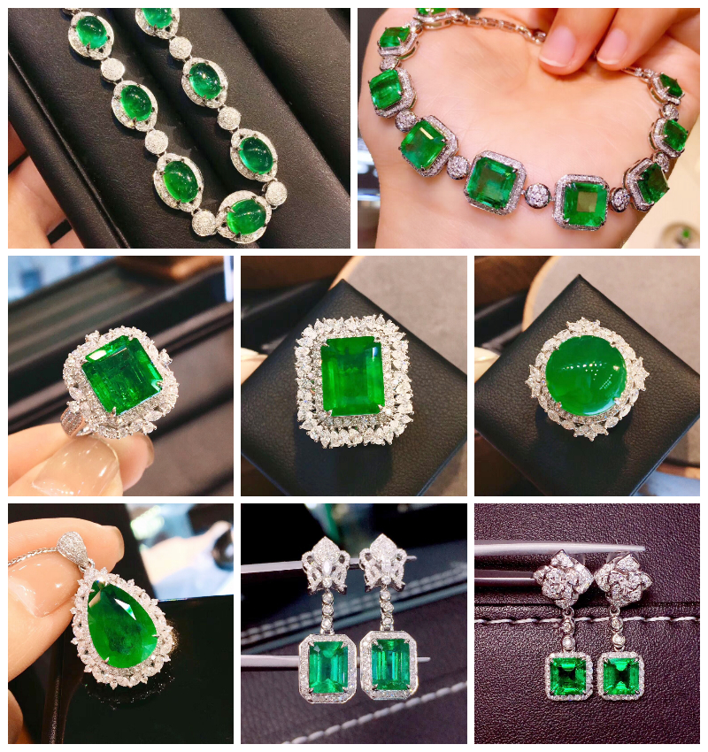 Natural Colombian muzzo Emerald Ring 18K gold inlaid with Emerald Pendant, nude stone earrings necklace, female