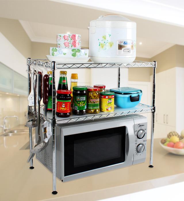 美宜潔廚房置物架微波爐架烤箱架子微波爐置物架收納儲物整理層架