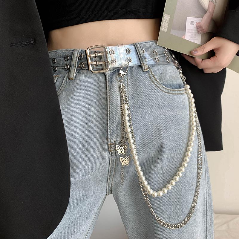 透明腰带女ins风 双排扣嘻哈潮人珍珠蝴蝶链条收腰牛仔裤百搭皮带
