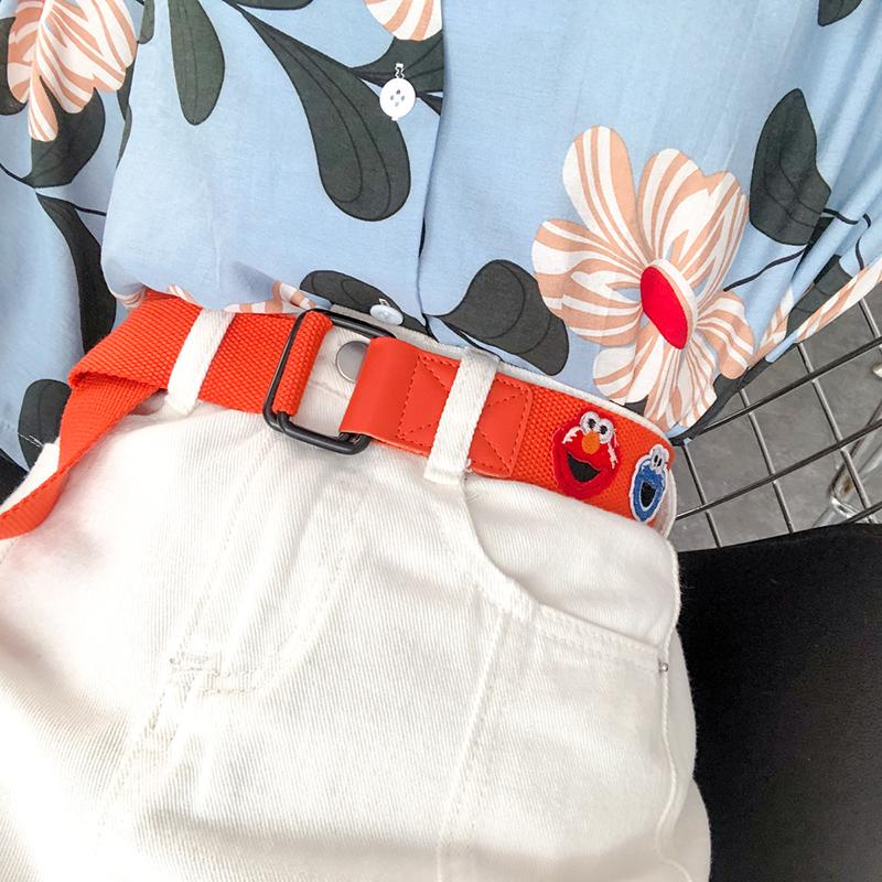 假一赔十韩国ins风卡通原宿帆布腰带女士双环扣百搭牛仔裤学生裤带皮带女