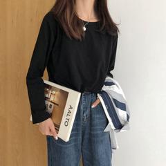 T恤女装2019春季韩版新款纯色显瘦休闲宽松长袖圆领上衣打底衫潮
